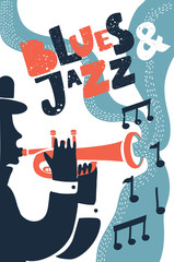 Jazz music, vector poster background template. Illustration of a man playing trumpet.