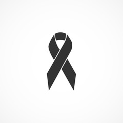 Vector image of icon is a black ribbon.