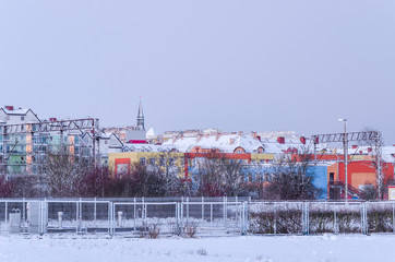 WINTER IN KOLOBRZEG - A snow-covered city in the morning