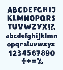 Hand drawn letters. Vector alphabet, punctuation marks, numerals on white background.