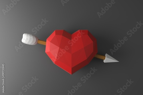 Low poly heart on the wall  3D rendering