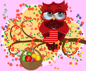 A red flirtatious owl in glasses sits on a branch and knits a red and white sock for Christmas, Basket with colorful balls hangs on a branch