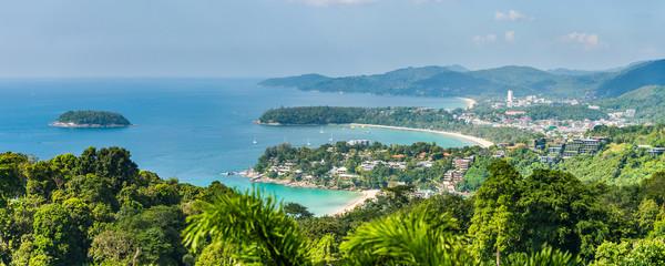 Patong Beach, Karon Beach and Kata Beach. Panoramic view from Karon Viewpoint at Phuket island, Thailand.