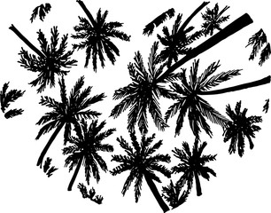Black and white illustration of silhouettes of palms inscribed in the heart. Bottom view.