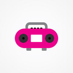 Flat Vector Icon Of Cassette Player.