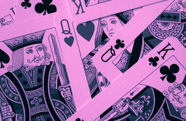 Queen of red hearts macro, fortune-telling cards. Mystic card ritual, prediction of female love fortune, close up.