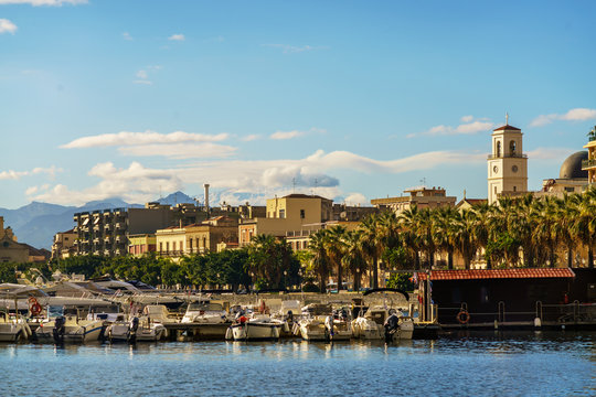 View of the town of Milazzo from the sea, Sicily, Italy