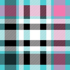 Seamless diagonal tartan pattern. Cyan blue, pink, white and black combination for textile design