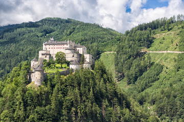 Castle Hohenwerfen in Pongau valley Austria. Former film location Where Eagles Dare. The castle is situated at a strategic position at the top of a mountain with a view over the valley.