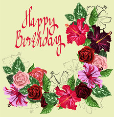 card with flowers happy birthday