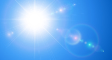 Sunny background, blue sky with sun