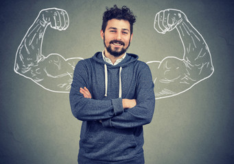 Overconfident man with strong hands