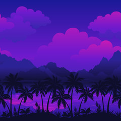 Exotic Horizontal Seamless Landscape, Sea, Palm Trees Silhouettes, Mountains and Cloudy Sky. Eps10, Contains Transparencies. Vector
