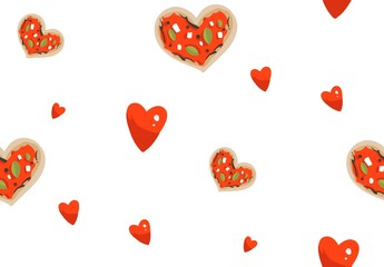 Hand drawn vector abstract modern cartoon Happy Valentines day concept seamless pattern with cute heart shape pizza and many hearts isolated on white background