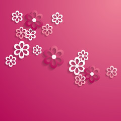 pink background with a pattern of paper flowers