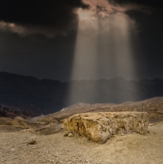 At the beginning heaven and stones have been created...image with biblical motif was taken in Sinai peninsula