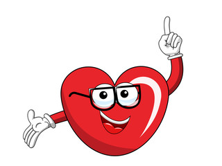 Cartoon mascot heart glasses finger up isolated
