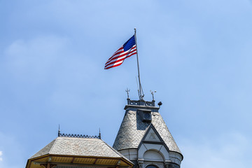 United States of America Flag at The Belvedere Castle in Central Park, New York City.