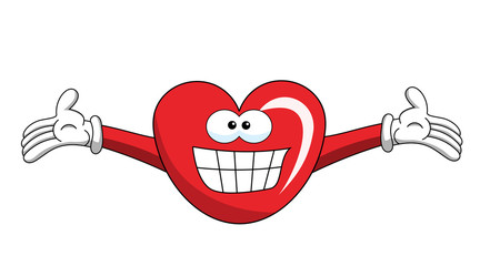 Cartoon mascot heart big smile isolated