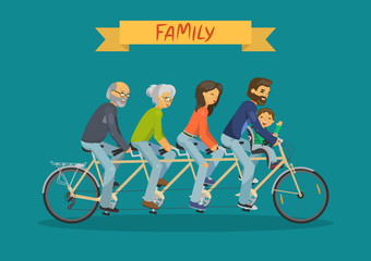 Family concept. Mother, father, grandmother, grandfather and child riding tandem on teal background. Vector illustration.