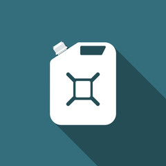 Canister for gasoline icon isolated with long shadow. Diesel gas icon. Flat design. Vector Illustration
