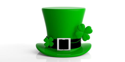 St Patricks Day leprechaun hat with four leaf clover isolated on white background. 3d illustration