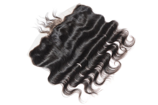 Body wavy black human hair extensions lace frontal