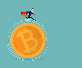 businessman running on bitcoins cartoon business vector