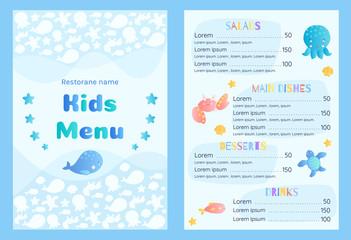 Sea style children's menu vector template.