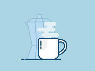 illustration of cup of hot coffee flat design