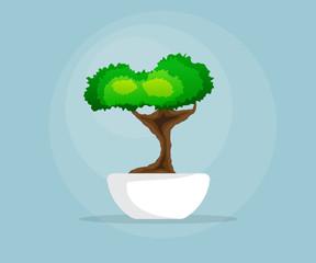 illustration of little bonsai tree in bowl flat design