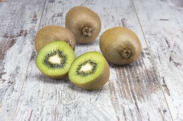 Juicy ripe kiwi fruit on the rustic table