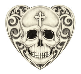 Art Vintage Heart Skull. Hand pencil drawing on paper.