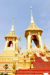 Bangkok, Thailand - November 04, 2017; Beautiful gold view The Royal Crematorium for the late King Bhumibol Adulyadej  at November 04, 2017