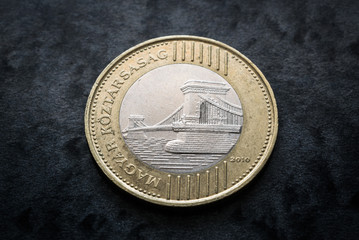 Hungary currency, two hundred forint coin reverse with budapest bridge close up on black gray background