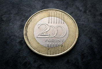 Hungary currency, two hundred forint coin obverse close up on black gray background