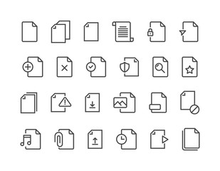 Set of File Related Vector Line Icons. Contains such Icons as Download, Video File and more. Editable Stroke. 48x48 Pixel Perfect. vector