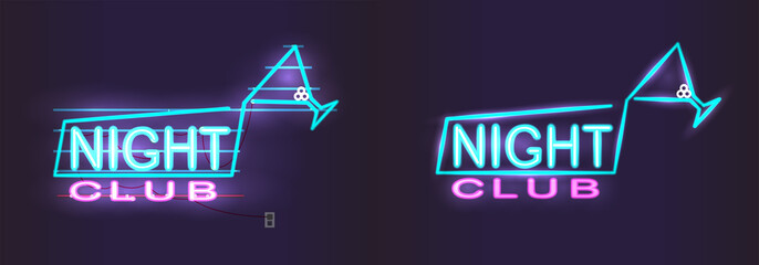 Neon night club sign, Night advertising template for parties, neon inscription with martini glass