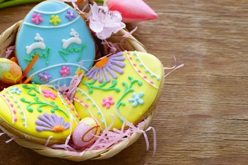 Easter cookies with colorful icing for treats for the holiday