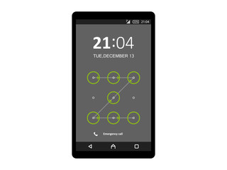 Mobile phone unlocked and set with pattern and password notification vector