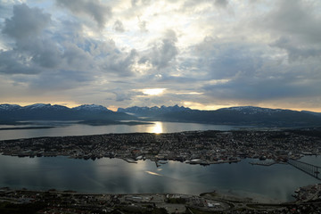 Midnight-sun at Tromso city, Norway