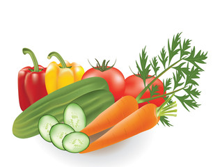 Vegetables set, pepper, tomato, cucumber and carrot