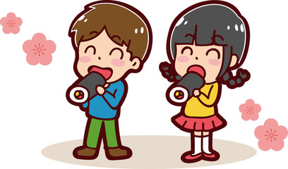 恵方巻きを食べる子供のイラスト(男の子と女の子)