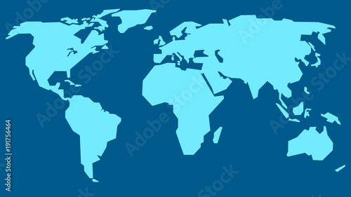 vector world map illustration light blue continents on the dark blue background