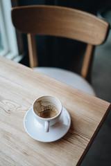 Empty coffee mug by the window light