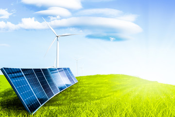 solar cell on field grass and windmill, power from nature, environment conception