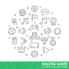 Collection of game thin line icons