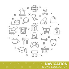 Collection of navigation thin line icons