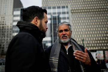 Immigrant rights activist Ragbir participates in a protest against U.S. Immigration Policies, near the Jacob Javits Federal Building in New York