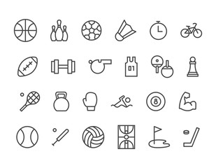 Simple Set of Sport Equipment Related Vector Line Icons. Contains such Icons as Soccer Football, Bodybuilding, Jugging and more. Editable Stroke. 48x48 - stock vector